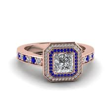 3 4ct pave halo blue princess cut double halo pave diamond engagement ring in 14k rose