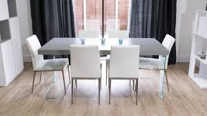modern grey dining table modern grey oak veneer table glass legs coloured faux leather chairs