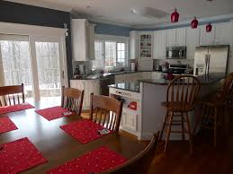 dining room wallpaper high resolution blue gray kitchen with red