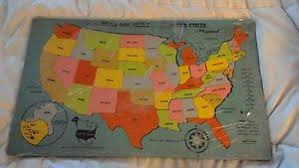 us map puzzle wood vintage playskool wood inlaid us map puzzle with compass ebay