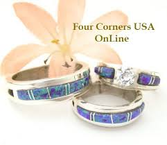 Opal Wedding Ring Sets by Purple Engagement Wedding Ring Sets Navajo Wedding Rings Four