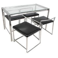 Steel Frame Desk 5 Piece Fuji Modern Dining Set Metal Black Pu Seat And Stainless