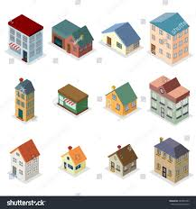 modern retro house street isometric flat stock vector 684346753