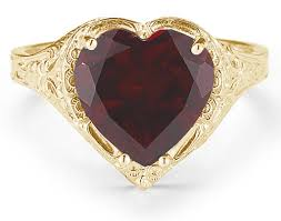 heart style rings images Antique style filigree crimson red garnet heart ring in 14k yellow jpg
