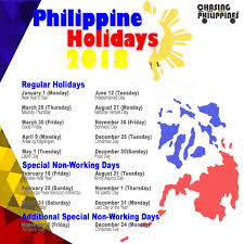 philippine holidays 2018 regular holidays special non working