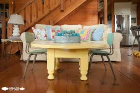 yellow painted coffee table in soft duckling creative cain cabin