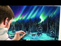 how to paint northern lights painting northern lights landscape with acrylics youtube