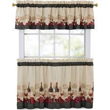 Walmart Mainstays Curtains Mainstays Vineyard 3 Piece Kitchen Curtain Set Walmart Com