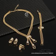 necklace earring bracelet set images Jewelry set for women gold glated beads collar necklace earrings jpg