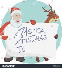santa his deer hold poster merry stock vector 533471926