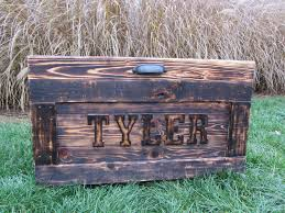 hand crafted personalized wood chest large made from reclaimed