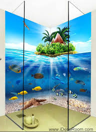 Wall Murals 3d 3d Wallpaper Tropical Island Fish Ocean Wall Murals Bathroom
