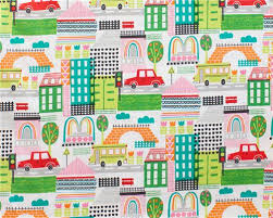 white henry fabric colorful building children fabric