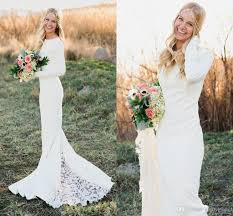 outdoor wedding dresses fall winter sleeve wedding dresses sheath crew neck chapel