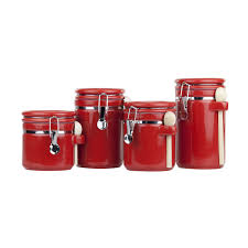 Red Kitchen Canisters Set by Amazon Com Home Basic 4 Piece Ceramic Canister Set With Spoon