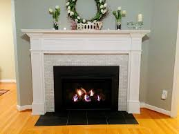 Ideas For Fireplace Facade Design Marble Subway Tile Fireplace Surround Has White Molding Casing And