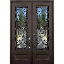 stained glass for front door allure iron doors u0026 windows 64 in x 96 in lauderdale dark bronze