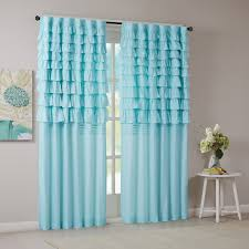 intelligent design waterfall ruched window panel in blue grey and