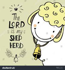 hand lettering cute sheep bell lord stock vector 611399075