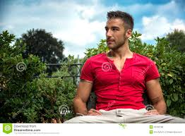 Model Bench Good Looking Fit Male Model Sitting On Bench Stock Photo Image