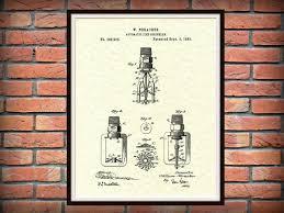 patent 1888 fire sprinkler art print poster fire house