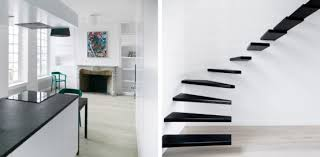 Flat Interior Design Black And White Flat Interior Design With Amazing Steel Staircase