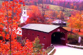 ridecolorfully covered bridge vermont fall