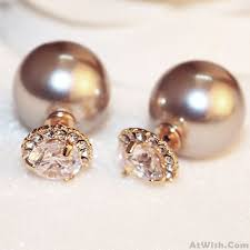 sided earrings sided pearl diamond earrings studs fashion