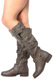 s boots knee high brown brown faux leather knee high strappy biker boots cicihot