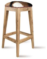 Traditional Kitchen Stools - teakwood and animal hide rustic bar stool traditional bar