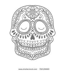 dead flower coloring page coloring page children day dead colorful stock vector 702126880