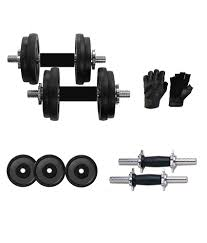 i fit 20kg rubber weight 2 dumbbells rod 14 inches leather