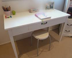 Grey Wooden Desk Furniture Rectangle White Wooden Desk With Single Drawer And
