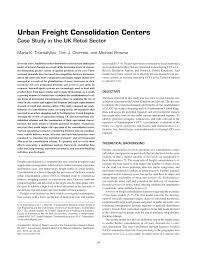 urban freight consolidation centers case study in the uk retail
