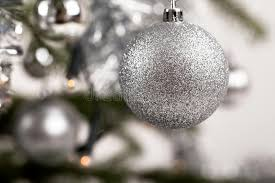 decorated tree with silver balls stock photo image