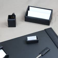Desk Accessory Sets by Woven Leather Desk Set 7 Piece Black Leather Desk Sets