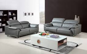 Sofa Set Leather by Divani Casa Wolford Modern Grey Leather Sofa Set