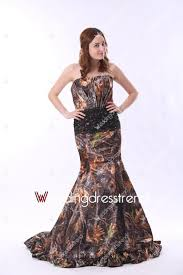 romantic mermaid ruched sweep train camo wedding gown buy from