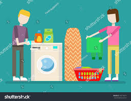 laundry flat illustration man holding cup stock vector 542218219