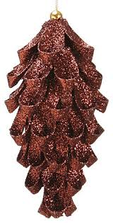 fancy metallic pine cone ornament brown glitter 6 25