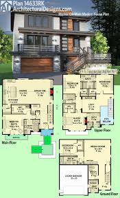 Size Of 2 Car Garage by Plan 14633rk Master On Main Modern House Plan Modern House