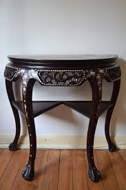 Half Moon Table A Half Moon Table In Rosewood Inlaid In Pearl And Marble