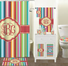 retro vertical stripes shower curtain personalized potty