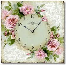shabby chic romantic roses wall clock