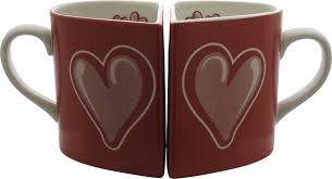 heart shaped mugs two halves heart shaped sweetheart mug set
