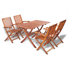vidaxl wooden outdoor dining set 4 chairs 1 rectangle table
