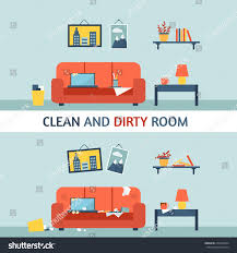 dirty clean room disorder interior room stock vector 273526094
