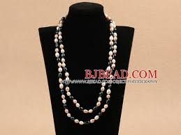 long pearl beaded necklace images Chic long style 7 8mm natural multi color freshwater pearl jpg