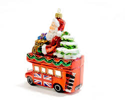 christmas glass ornament santa in london bus renio u0026 clark