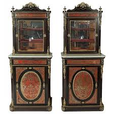 wooden scrolls for cabinets pair of antique ebonized wood boulle marquetry vitrine cabinets for